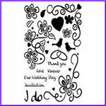 Order Set of Cling Scripts, Flowers, Birds and Hearts