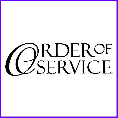You can order Order Of Service Scroll Script Wood Mounted Rubber Stamp