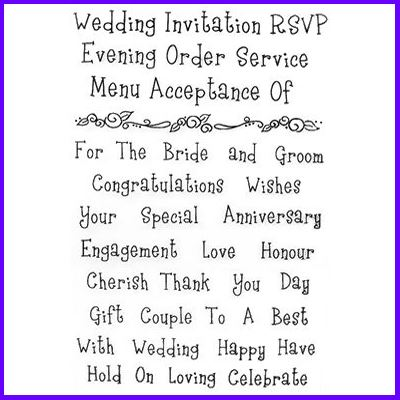 You can order Wedding Words Set of Clear Cling Stamps