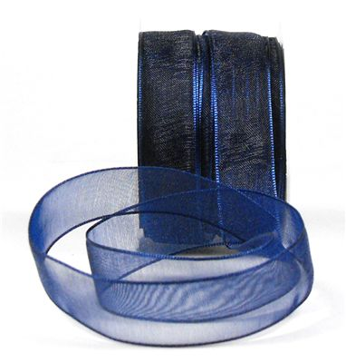 You can order Navy Blue 15mm Organza Ribbon